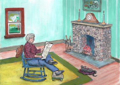 Grandpa and Murfy by fireside