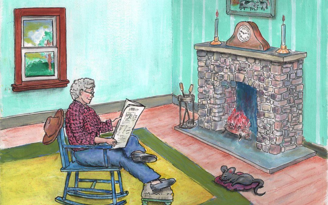 Grandpa and Murfy by fireside